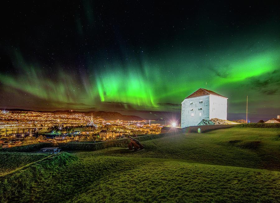 Beautiful Aurora Over Festningen in Trondheim  by Aziz Nasuti