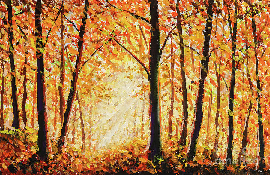 Beautiful Autumn Forest Landscape Painting Painting By Valery Rybakow