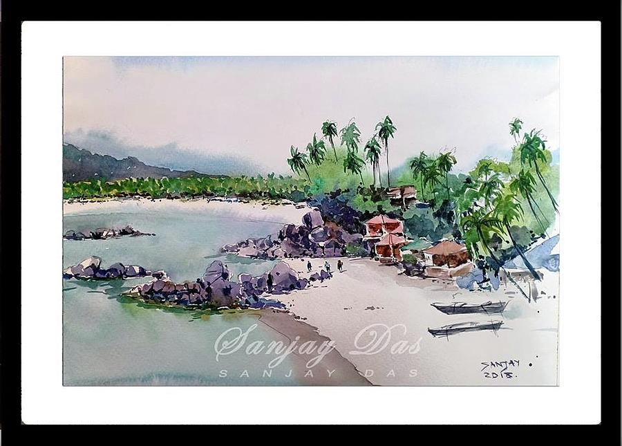 Beautiful Beach In Goa India Painting by Sanjay Das