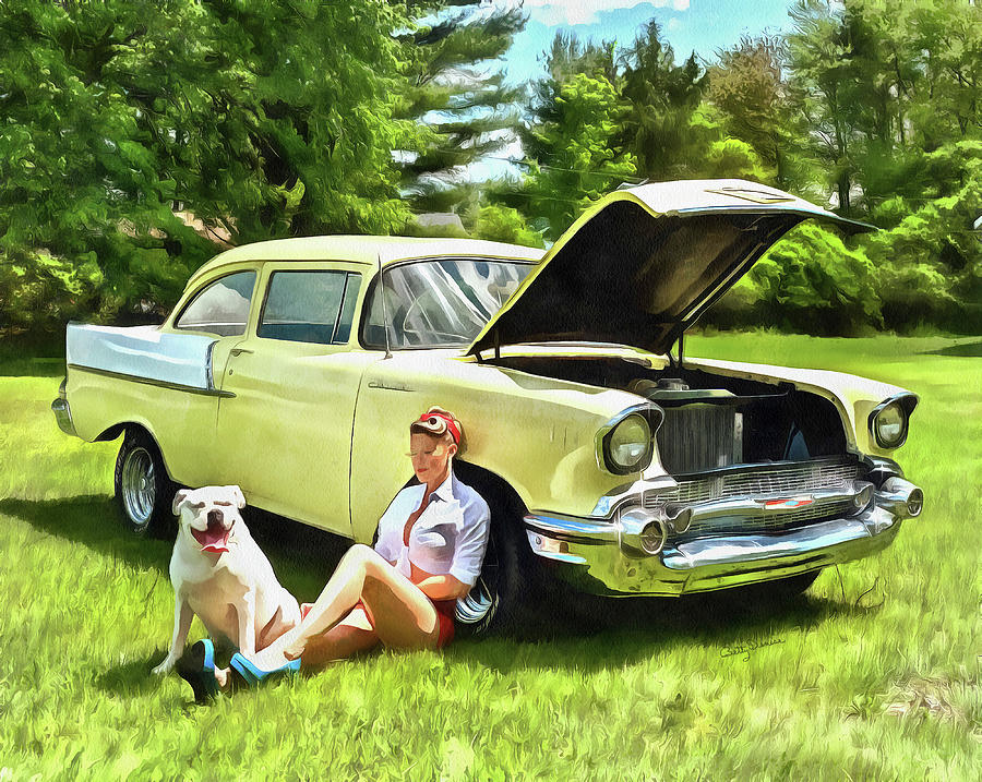 Beautiful Blonde Pinup Girl with 1957 Chevy by Betty Denise