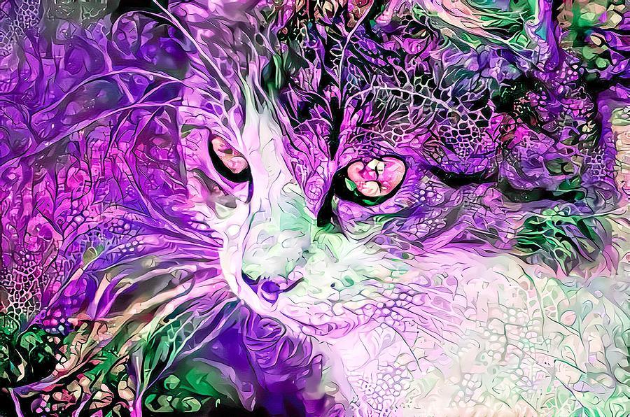 Beautiful Cat Purple Digital Art