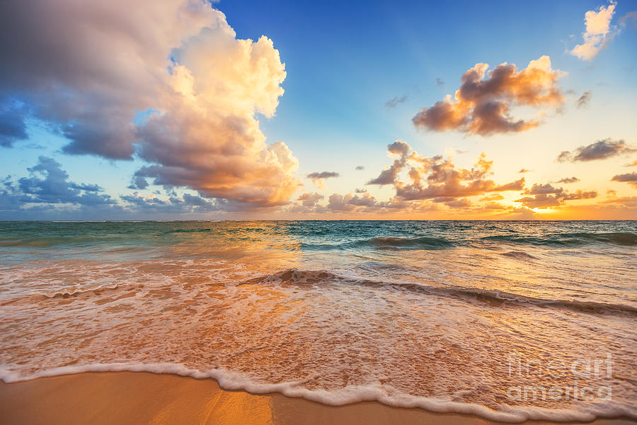 Sunrise Photograph - Beautiful Cloudscape Over Caribbean by Valentin Valkov