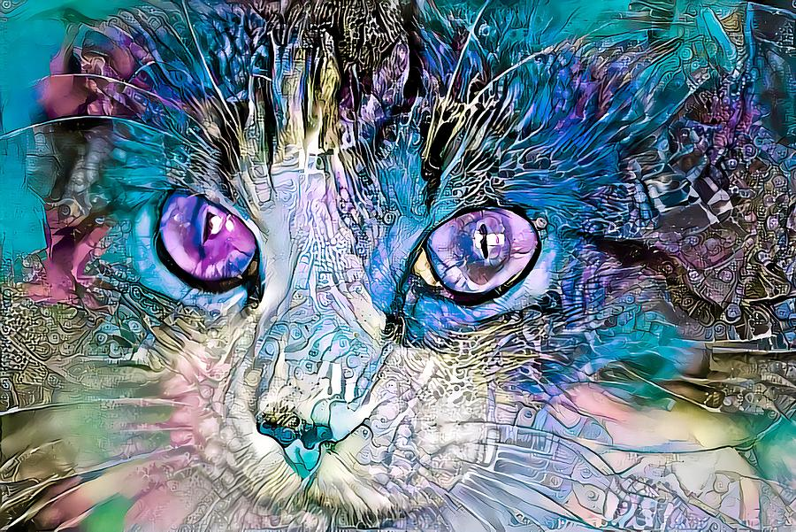 Beautiful Colorful Cat Blue by Don Northup