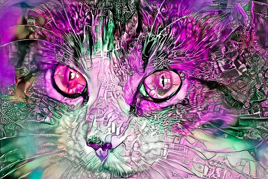 Beautiful Colorful Cat Purple by Don Northup