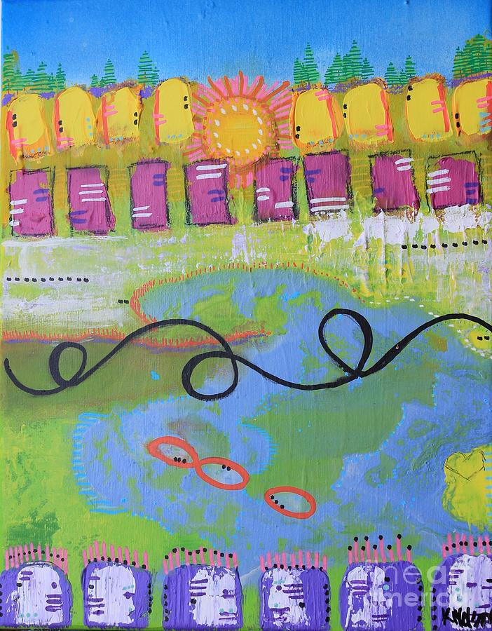 Bold Colors Painting - Beautiful Day In The Neighborhood by Kim Nelson