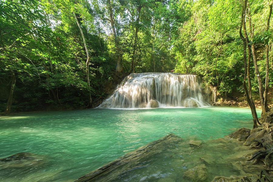 Beautiful Erawan Waterfall In By Mixrinho