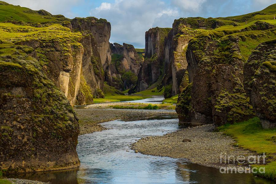 Sunshine Photograph - Beautiful Fjadrargljufur Canyon With by Mantadilok