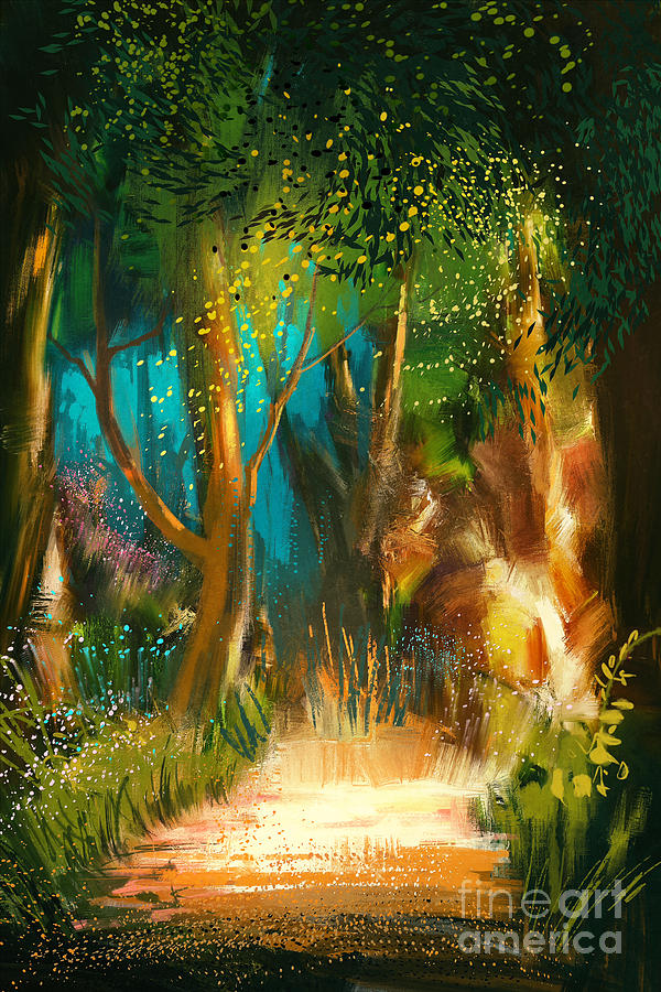 Forest Digital Art - Beautiful Forest Path In by Tithi Luadthong