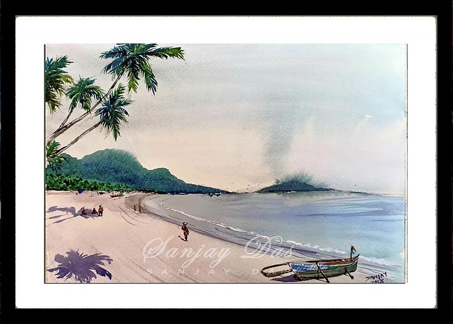 Beautiful Goa Beach Painting by Sanjay Das