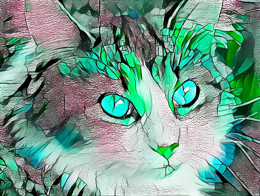 Beautiful Green Stained Glass Kitty Digital Art