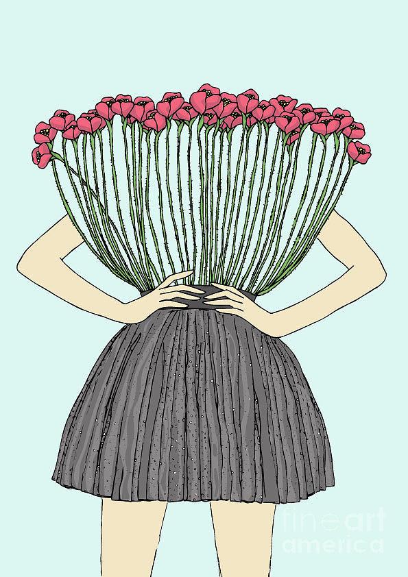 Floral Digital Art - Beautiful Illustration Of Woman by Marina Bh