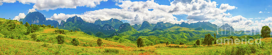 Beautiful Landscape, Mountain On Background.vang Vieng, Laos. P Photograph