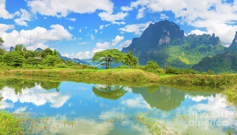 Beautiful Landscape, Pond On The Foreground. Laos. Photograph
