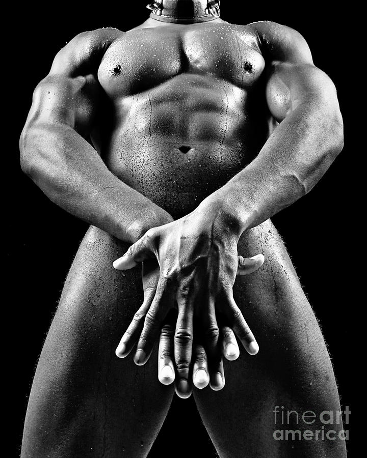 Beautiful Man nude or naked with great sexy body. Image in black and white by William Langeveld