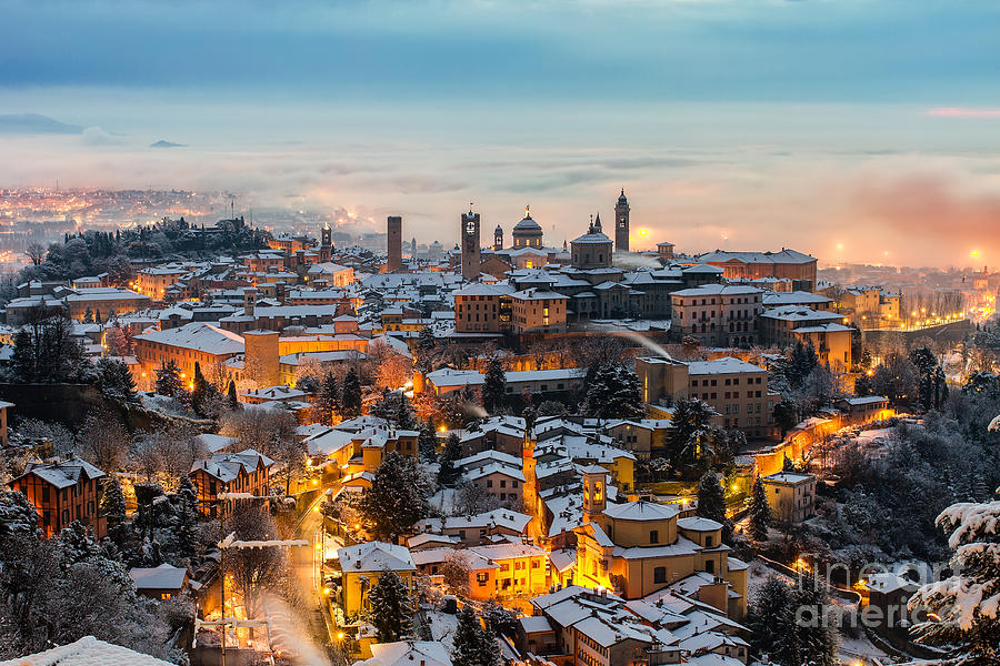 Sunrise Photograph - Beautiful Medieval Town At Sunrise by Gambarini Gianandrea