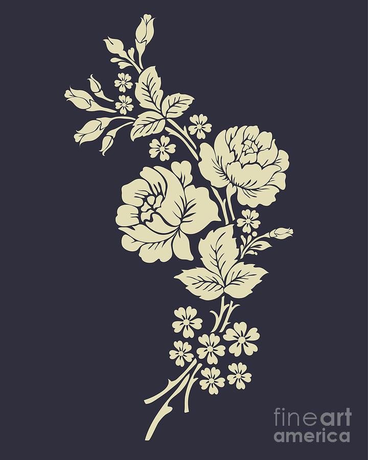 Beautiful Rose Flowers On The Dark Digital Art By Flower Design