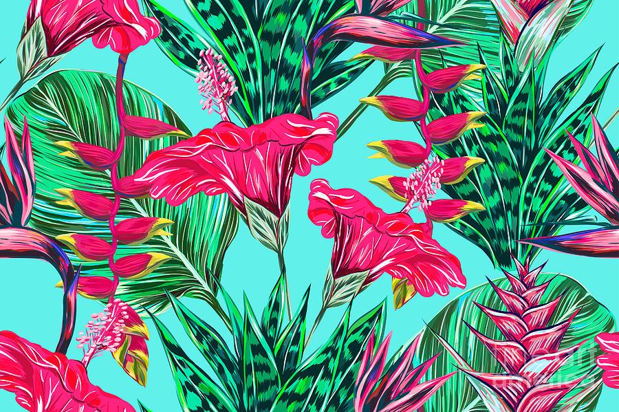 Beauty Digital Art - Beautiful Seamless Vector Floral by Nataliako