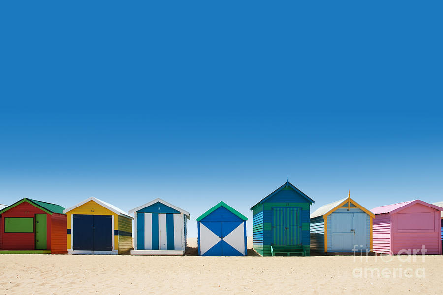 Small Photograph - Beautiful Small Bathing Houses On White by Creativa Images
