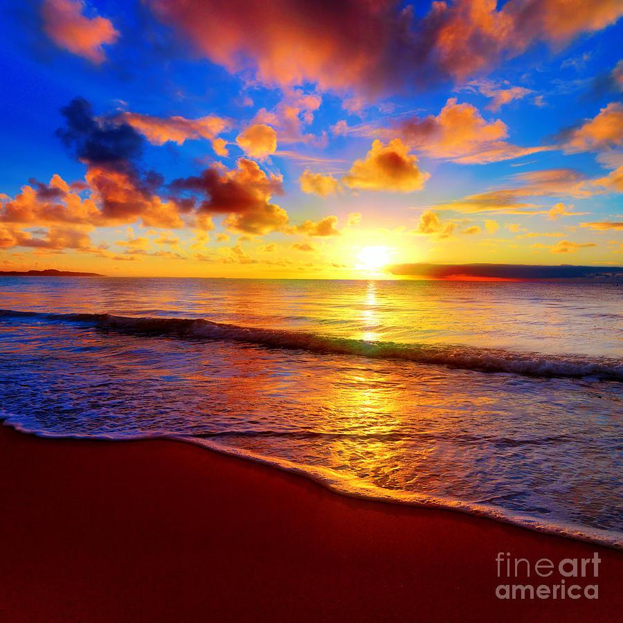 Tide Photograph - Beautiful Tropical Sunset On The Beach by Idiz