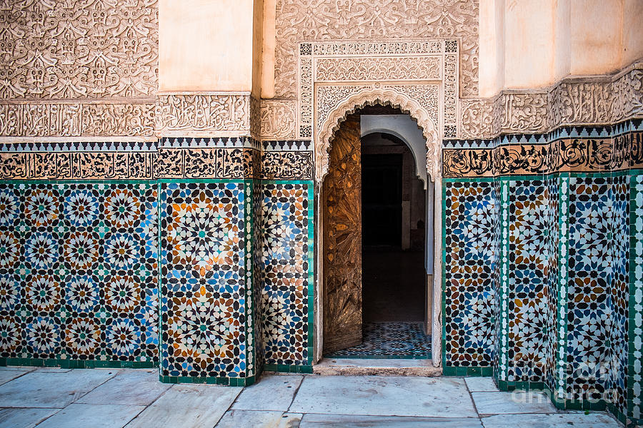 Door Photograph - Beautiful Typical Moroccan Tiles by Sabino Parente
