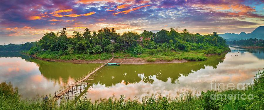 Beautiful View Of A Bamboo Bridge. Laos Landscape. Panorama Photograph