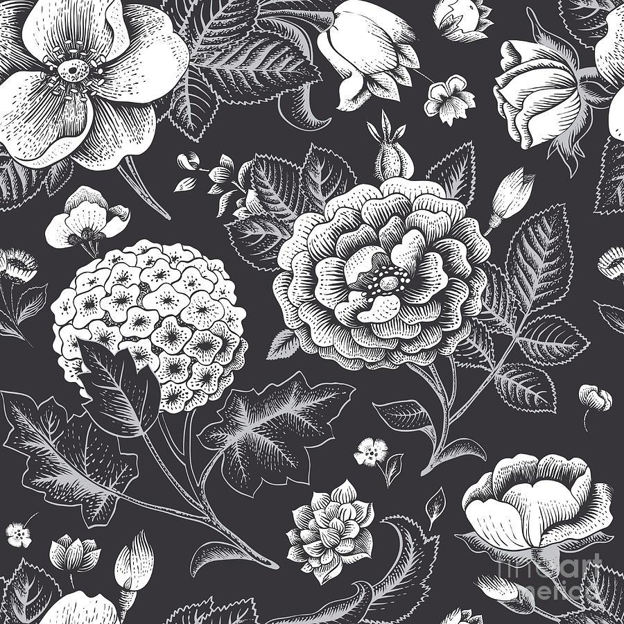 Beautiful Vintage Floral Seamless Digital Art By Olga Korneeva
