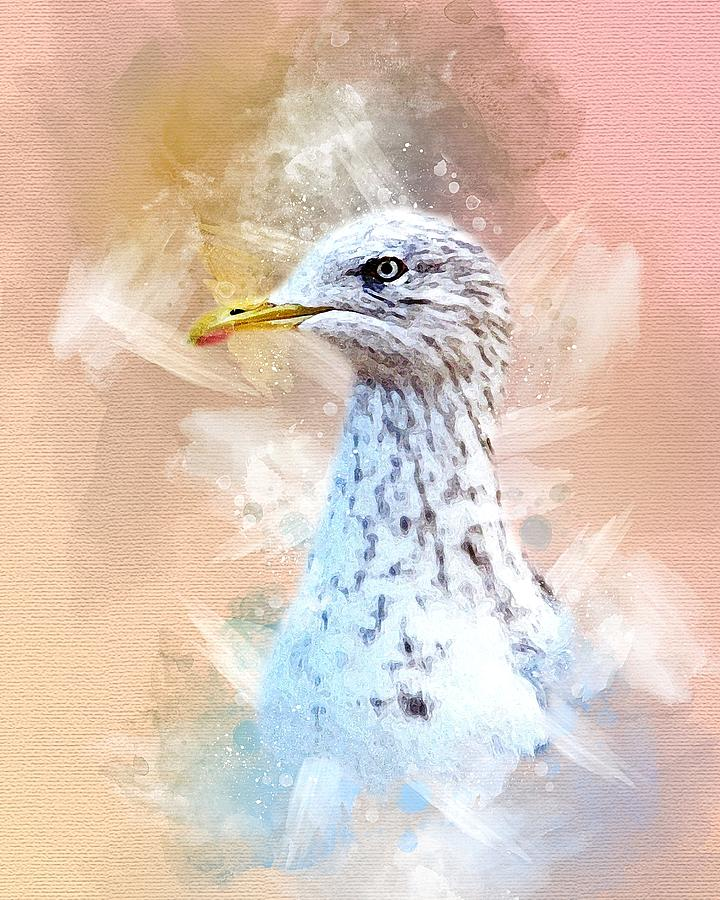 Beautiful Watercolor Seagull by Rachel Maytum