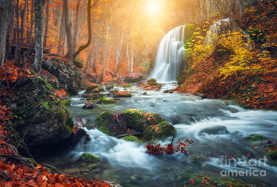 Beauty Photograph - Beautiful Waterfall At Mountain River by Denis Belitsky