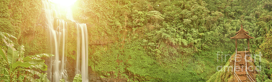 Amazing Photograph - Beautiful waterfall hidden in the tropical jungles panorama by MotHaiBaPhoto Prints