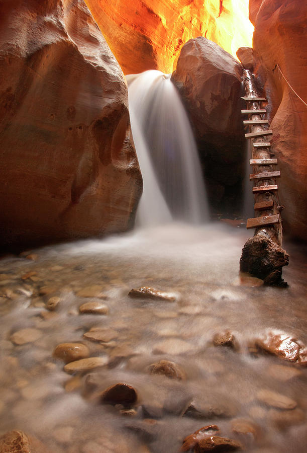Beautiful Waterfall With Pebbles On Photograph by Photography By Jenna Van Valen