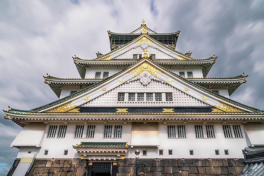 Beautiful white facade of Osaka Castle in Japan by Daniela Constantinescu