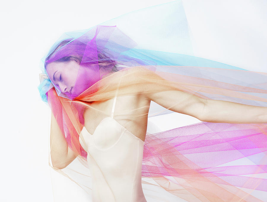 Beautiful Woman Covered With Colored Photograph by Tara Moore