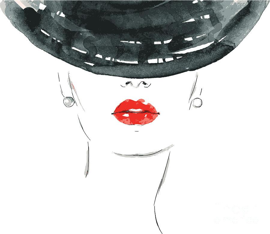 Makeup Digital Art - Beautiful Woman Portrait With Hat by Anna Ismagilova