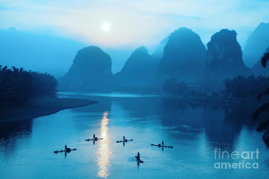 Raft Photograph - Beautiful Yangshuo Scenery In by Chuyuss