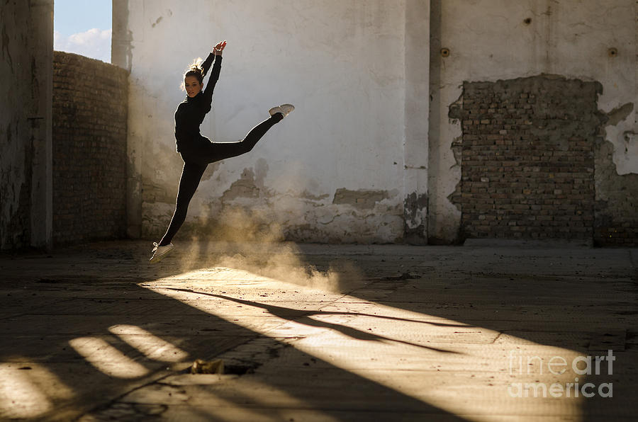 Practice Photograph - Beautiful Young Ballerina Dancing In by Sasa Prudkov