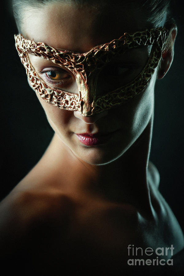Beauty model woman wearing masquerade carnival mask by Dimitar Hristov