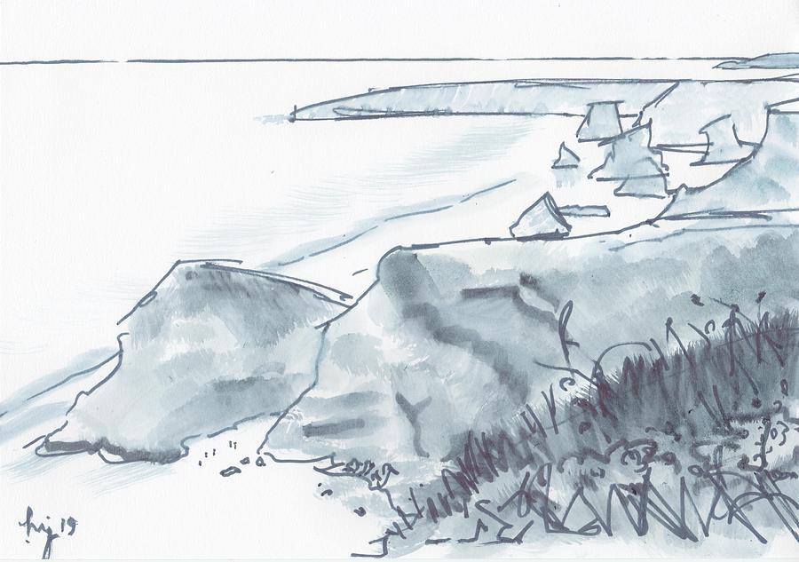 Bedruthan Steps Beach in Cornwall black and white watercolor sketch by Mike Jory
