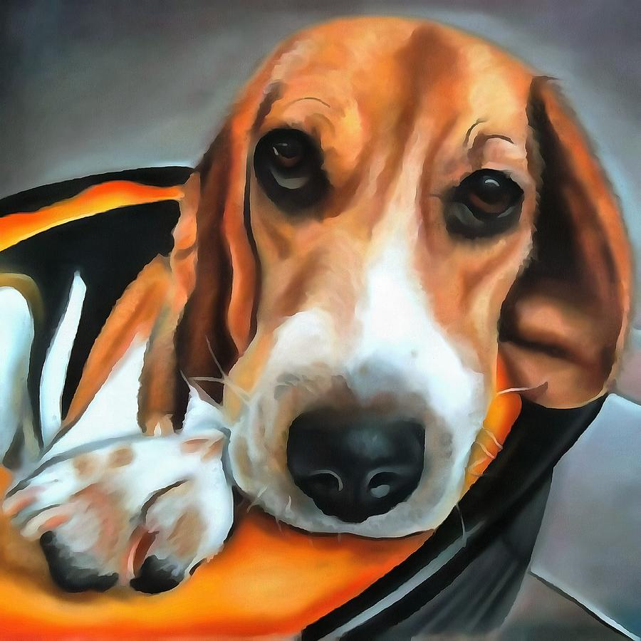 Bedtime For Beagle by Taiche Acrylic Art