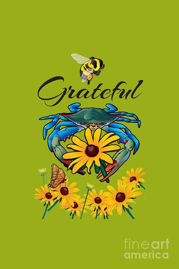 Maryland Digital Art - Bee Grateful Blue Crab with Black Eyed Susan Flowers by Joe Barsin