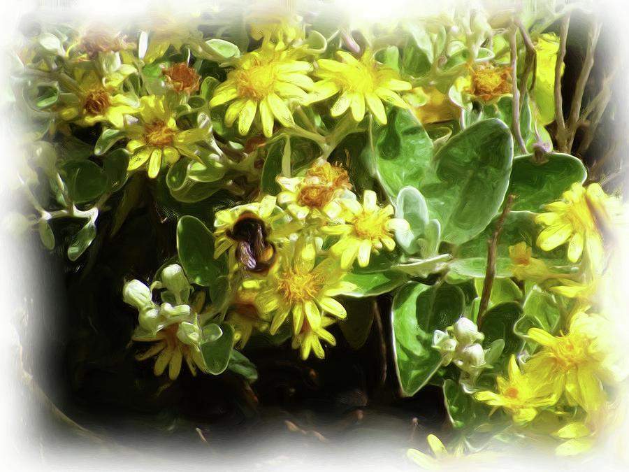 Bee Digital Art - Bee On A Flower by JLowPhotos