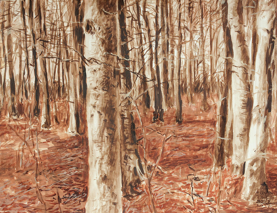 Beech Forest Painting - Beech Forest by Hans Egil Saele