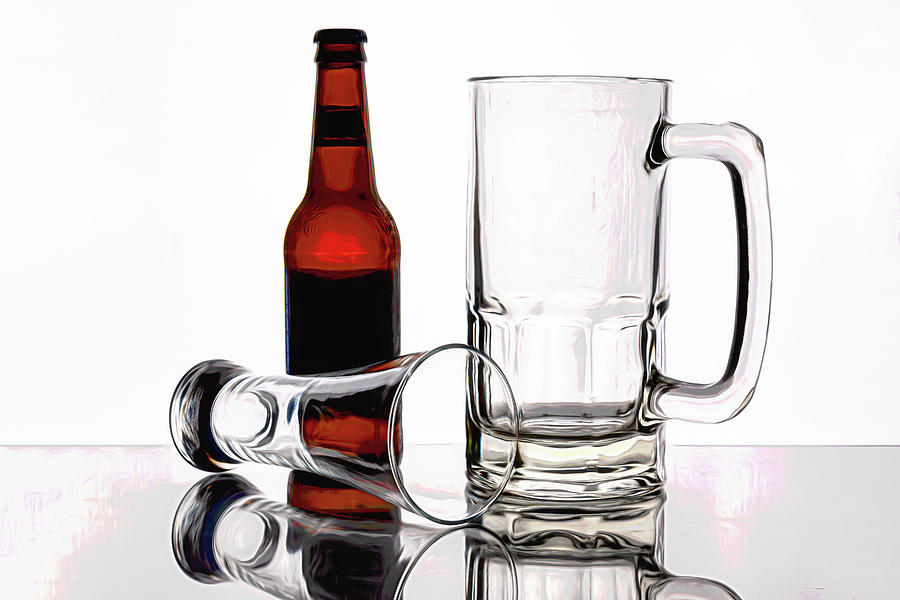 Beer Photograph - Beer Bottle And Glasses by Tom Mc Nemar