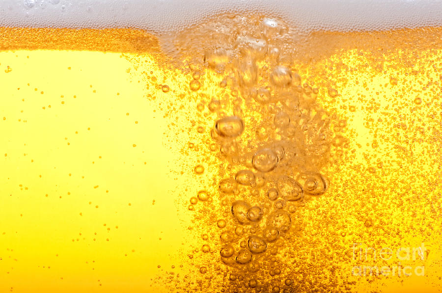 Drop Photograph - Beer Bubbles In The High Magnification by Faferek