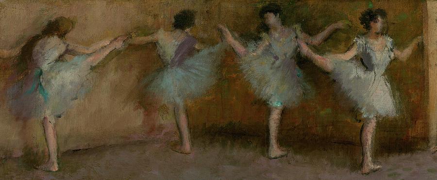 Edgar Degas Painting - Before The Ballet, Ballerinas by Edgar Degas