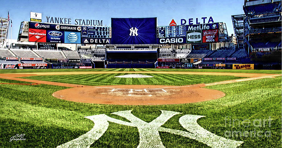 Yankee Stadium Digital Art - Behind Home Plate  by CAC Graphics