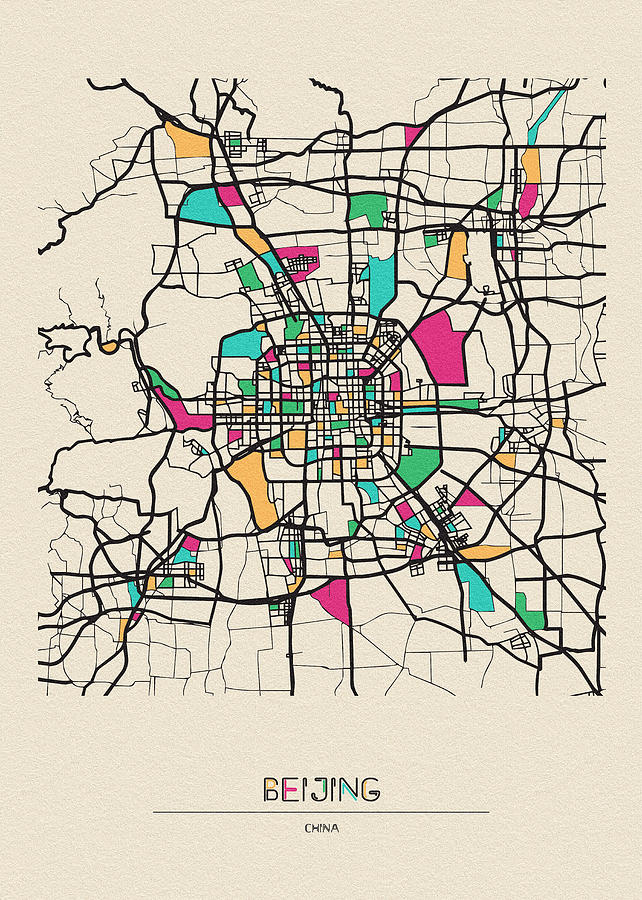 Beijing, China City Map by Inspirowl Design