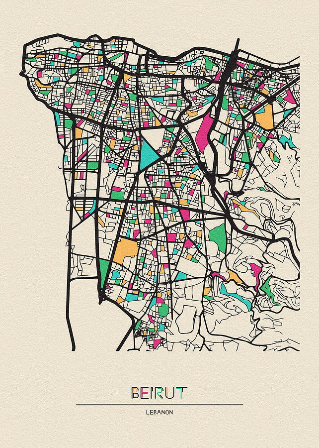 Beirut, Lebanon City Map by Inspirowl Design