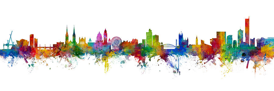 Manchester Digital Art - Belfast And Manchester Skyline Mashup by Michael Tompsett