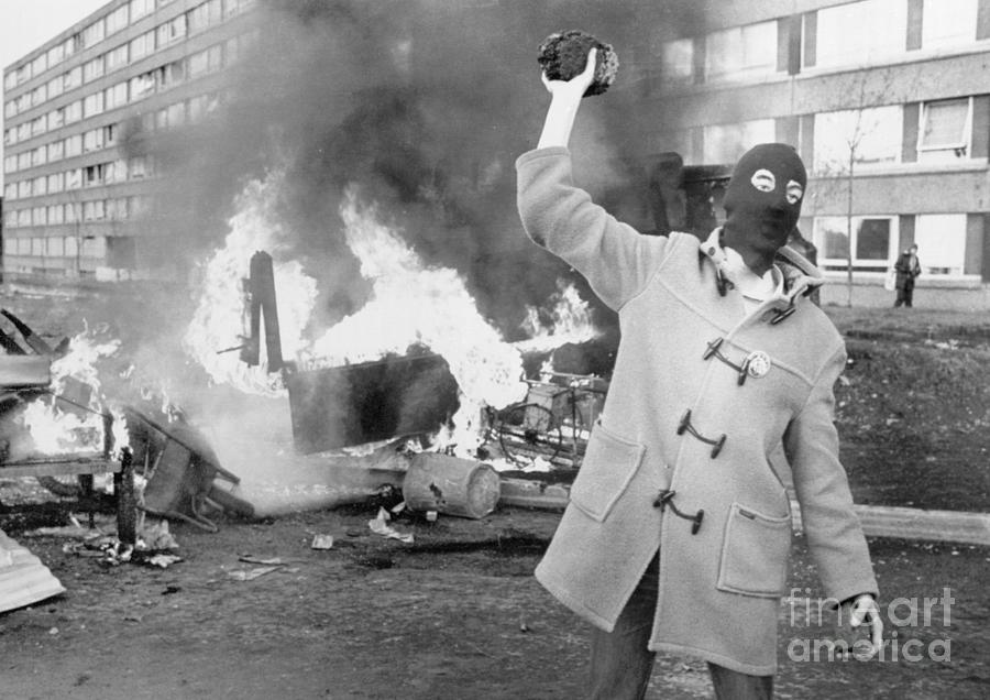 Belfastmasked Protester On Riot Torn Photograph by Bettmann