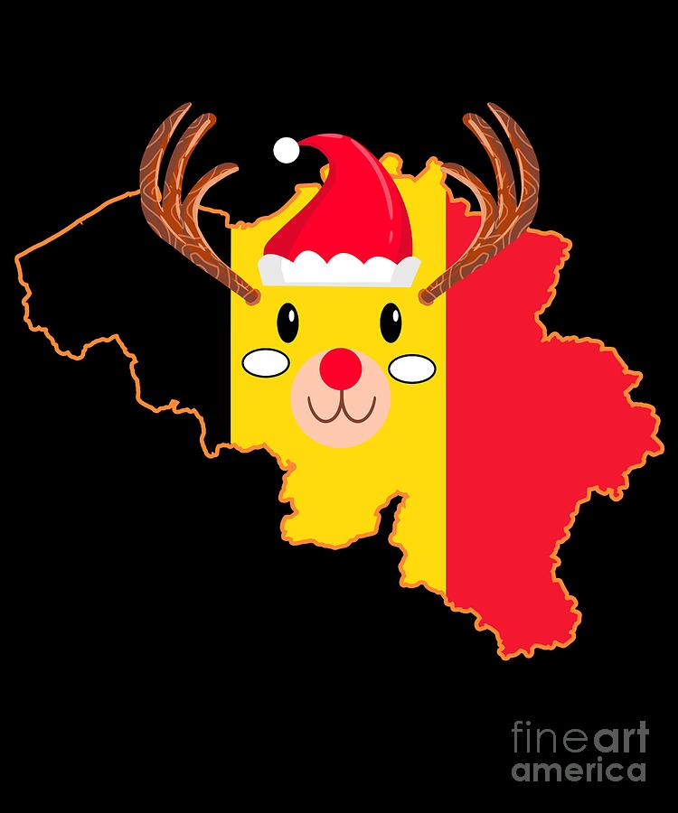 Christmas Digital Art - Belgium Christmas Hat Antler Red Nose Reindeer by TeeQueen2603